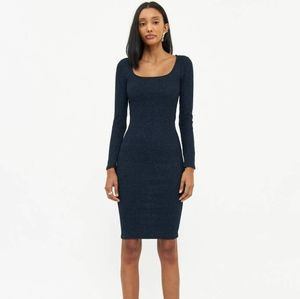 NWT Stelen | Navy Metallic Long Sleeve Midi Dress